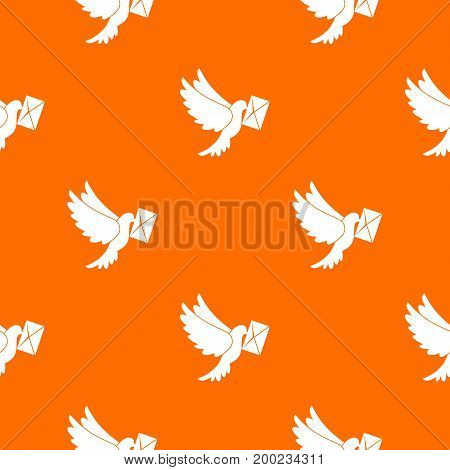 Dove carrying envelope pattern repeat seamless in orange color for any design. Vector geometric illustration