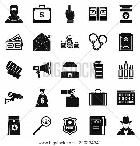 Criminal offence icons set. Simple set of 25 criminal offence vector icons for web isolated on white background