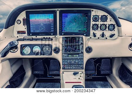 PRIBRAM Czech republic - July 12 2017. Dashboard of a small sporty aircraft for 4 people. View of displays and aircraft dashboard alarm clocks.