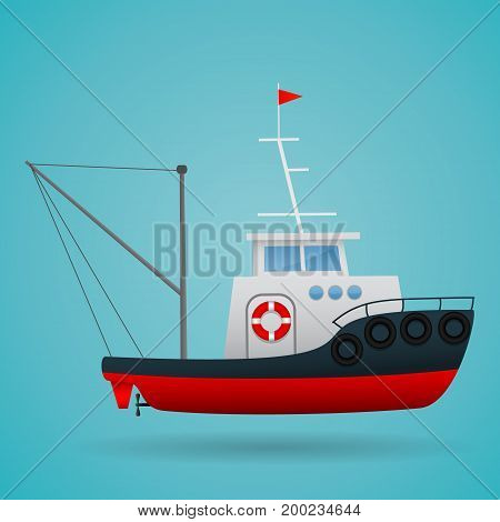 Tugboat. Fisherman ship. Cartoon style. Funny picture Vector illustration