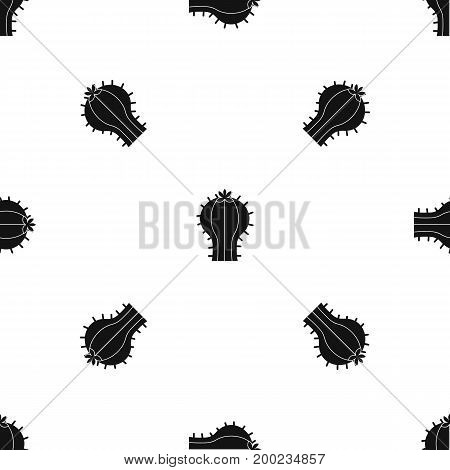 Cactus with flower pattern repeat seamless in black color for any design. Vector geometric illustration