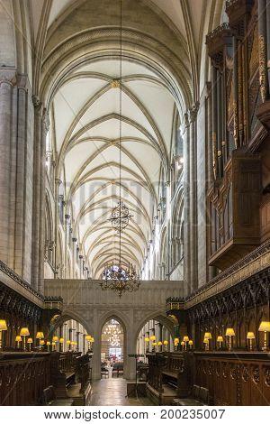 CHICHESTER, WEST SUSSEX, UK, 16 NOVEMBER 2013 - Choir stalls Chichester cathedral, West Sussex, UK