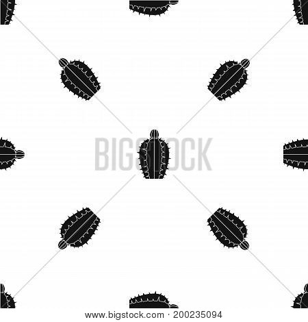 Blooming cactus pattern repeat seamless in black color for any design. Vector geometric illustration