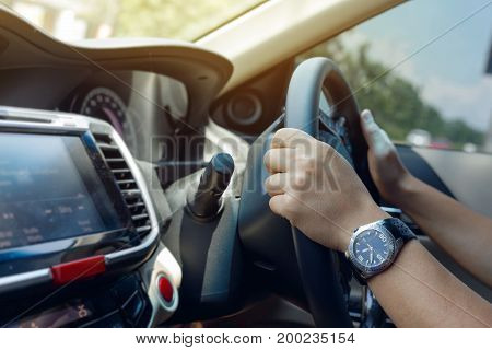 People Drive Car Travel Road Trip, Hand Man Holding Control Steering Wheel