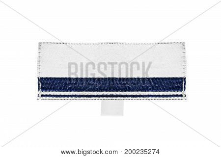 Blank textile clothes label on white background