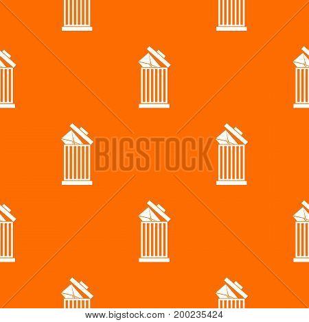 Envelope in trash bin pattern repeat seamless in orange color for any design. Vector geometric illustration