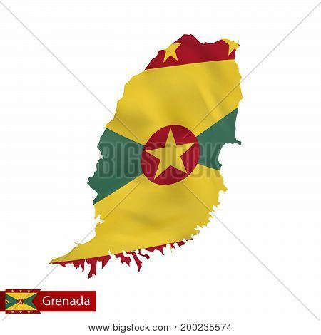 Grenada Map With Waving Flag Of Country.