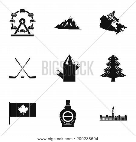 Canadian symbols icon set. Simple style set of 9 canadian symbols vector icons for web isolated on white background