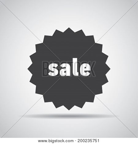 Sale tag icon with shadow on a gray background. Vector illustration