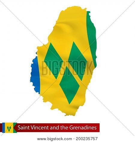 Saint Vincent And The Grenadines Map With Waving Flag Of Country.