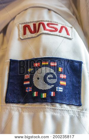 Noordwijk the Netherlands - 5 August 2017: Astronaut space suit with NASA and ESA shoulder patches at ESTEC facility
