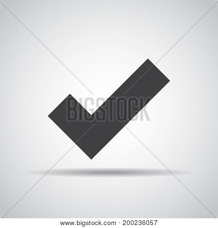 Accept icon with shadow on a gray background. Vector illustration
