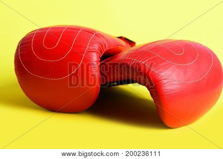 Pair Of Mittens For Boxing In Bright Red Color