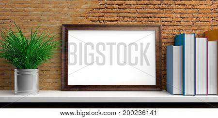 Frame And Books On A White Shelf. 3D Illustration