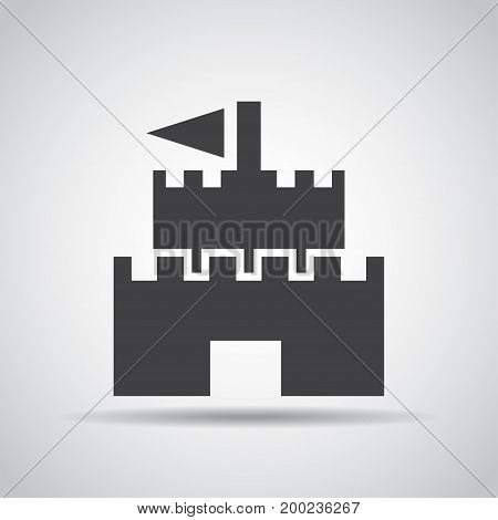 Castle icon with shadow on a gray background. Vector illustration
