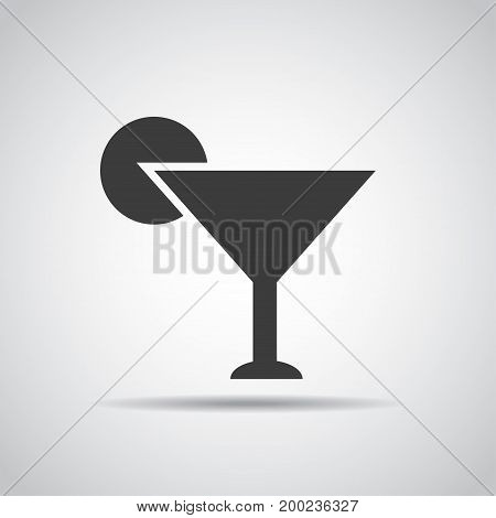 Coctail icon with shadow on a gray background. Vector illustration