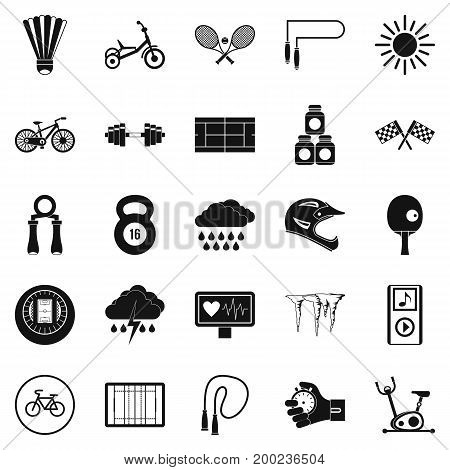 Cycling icons set. Simple set of 25 cycling vector icons for web isolated on white background