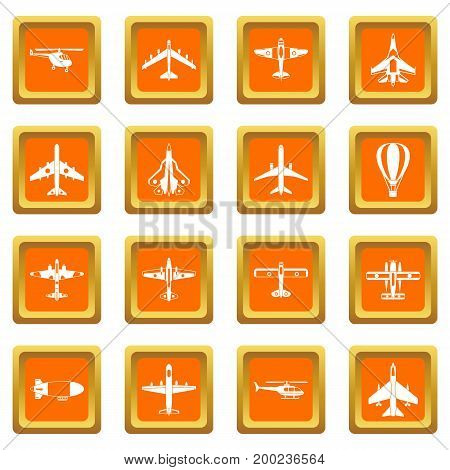 Aviation icons set in orange color isolated vector illustration for web and any design