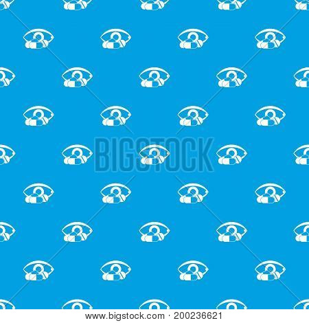 Treatment of the eye pattern repeat seamless in blue color for any design. Vector geometric illustration