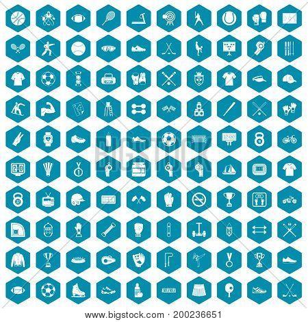 100 athlete icons set in sapphirine hexagon isolated vector illustration