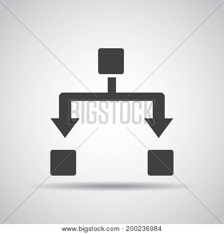 Network icon with shadow on a gray background. Vector illustration
