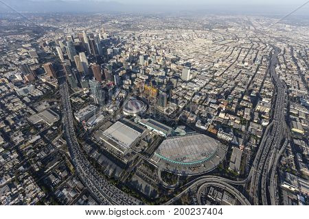 Los Angeles, California, USA - August 7, 2017:  Aerial view of Convention Center buildings, freeways and downtown towers.