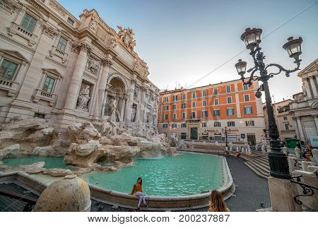 ROME ITALY - MAY 31 2017: Trevi Fountain in Rome Italy at morning with tourists.