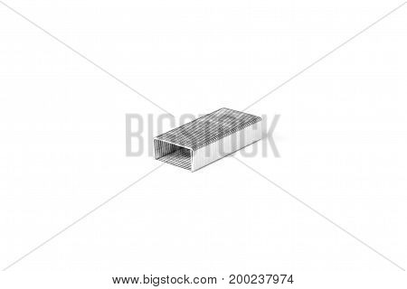 Pile of Metal Staples isolated on white background