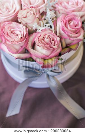 Romantic luxury pink roses in a white gift box
