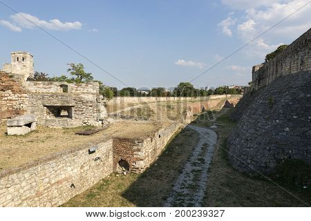 BELGRADE, SERBIA - JULY 31, 2017:Deep and wide ditch in front of the Belgrade Fortress Serbia
