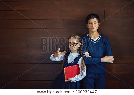 Adorable small girl wearing spectacles and school uniform, holding big red book, showing ok sign while standing close to her friend or brother. Schoolchildren posing at camera with positive look