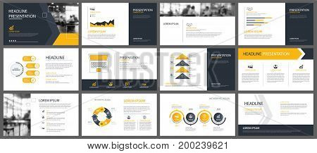 Yellow presentation templates and infographics elements background. Use for business annual report flyer corporate marketing leaflet advertising brochure modern style.
