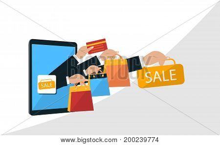 Super sale banner design for Mobile and online shop concept. Digital Marketing store Ecommerce shopping. Flat illustration.