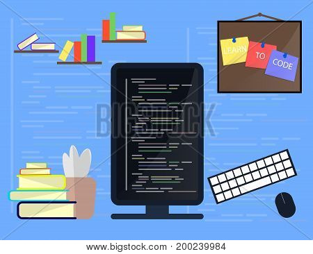 Learning Programming and coding concept website development Web Design. Flat Vector Illustration
