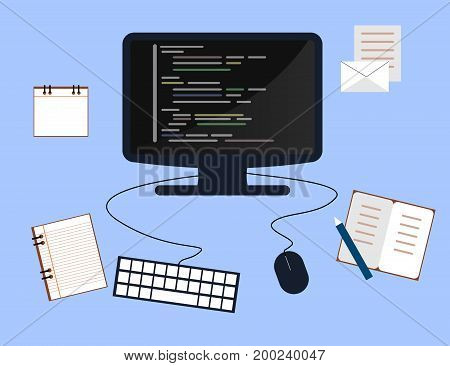 Programming and coding concept website development Web Design. Flat Vector Illustration