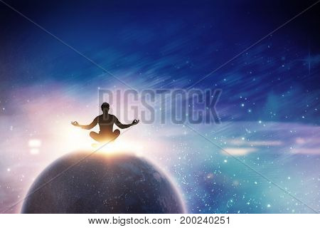 Zen businessman meditating in yoga pose against digitally composite image of colorful lights  Zen businessman meditating in yoga pose on white background