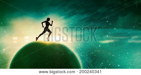 Pretty fit blonde jogging  against digitally composite image of colorful lights