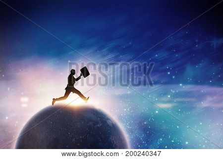 Businessman running with a suitcase against digitally generated image of powder