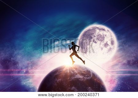 Pretty fit blonde jogging  against composite image of illuminated lights