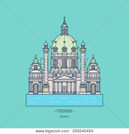 Austria illustration, Vector, Landmark, Karlskirche. Travel Vienna icon. Tourist attractions in capital of Austria. Line art collection of stock vector clipart.
