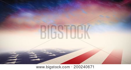 Usa national flag against aurora night sky in purple
