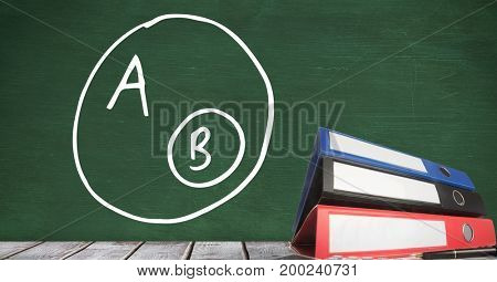 Digital composite of Folders on Desk foreground with blackboard graphics of A and B diagram