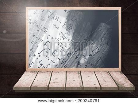 Digital composite of science equations on blackboard