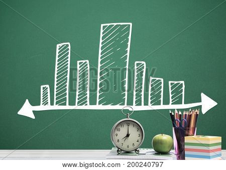 Digital composite of Desk foreground with blackboard graphics of bar charts incremented