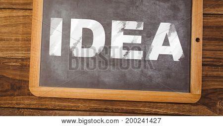 Digital composite of idea text on blackboard