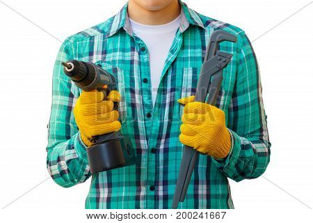 Repairman With A Screwdriver And Wrench In Hand.