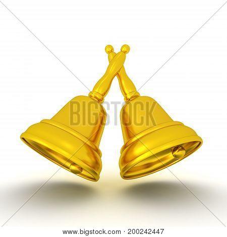 3D illustration of golden bells. Isolated on white.