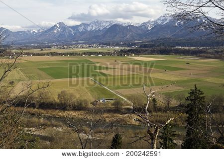 The Drau valley and Alps at Rosegg, Austria