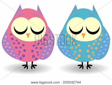 A pair of owls with closed eyes, sleeping in speckles. Drawing for a cup, decoration, postcard. Pastel shades.