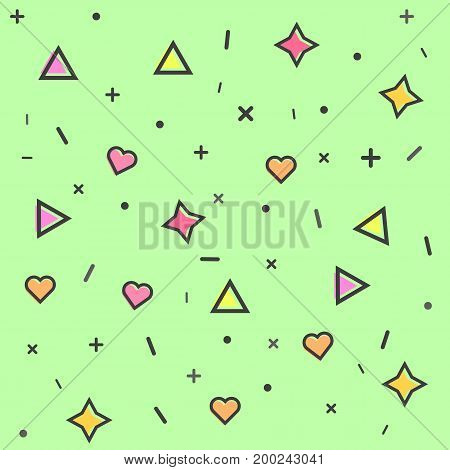 pattern with graphic elements on green background
